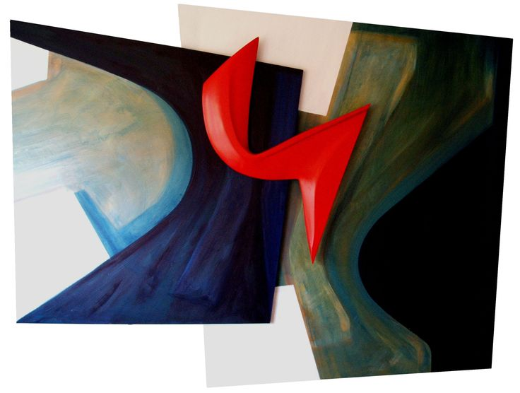ABSTRACT PAINTING/SCULPTURE - OIL AND ACRYLIC ON BOARDS