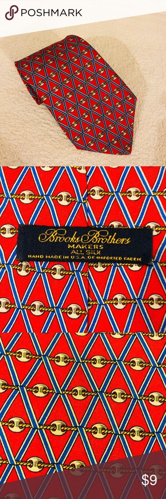 Brooks Brothers Red w/ Gold & Blue Horse Bit Tie Brooks Brothers Red With Gold, Blue and White Horse Bit Link Check Silk Necktie! Like new! Please make reasonable offers and bundle! Ask questions! Brooks Brothers Accessories Ties