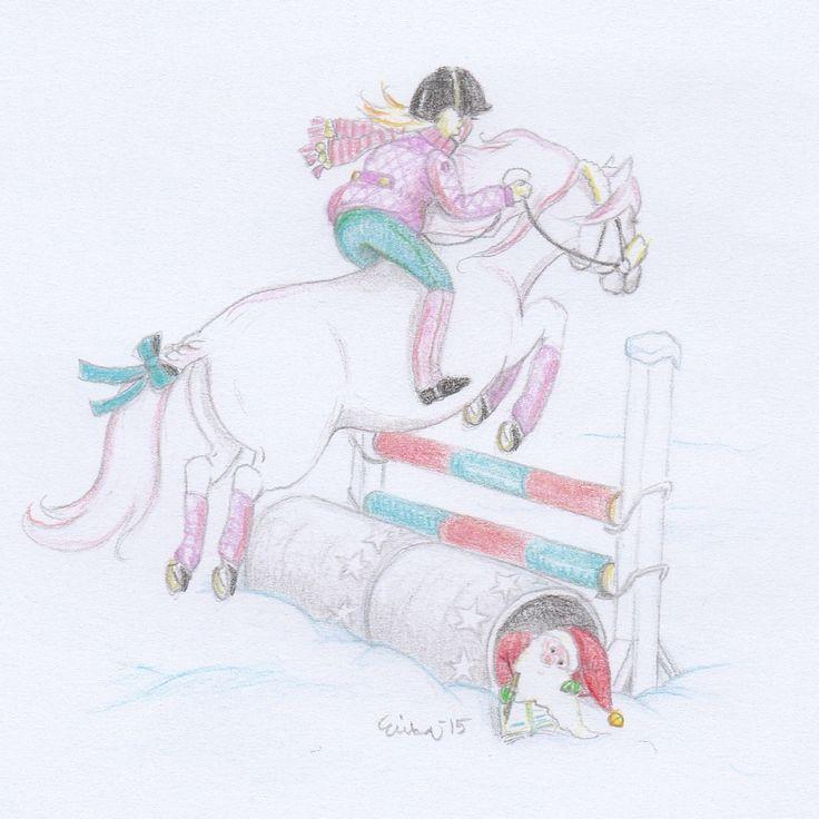 December 3rd - Bon is all in a Christmas mood and enjoys jumping over the icy fences. She just heard jingle bells! Perhaps Santa's elves are around. Joulukuun 3. - Bon on jo kovasti joulumielellä ja nauttii jäähileisten esteiden yli pomppimisesta. Hän kuuli juuri kulkusten kilinää! Ehkäpä tarkkailijatontut ovat liikkeellä.