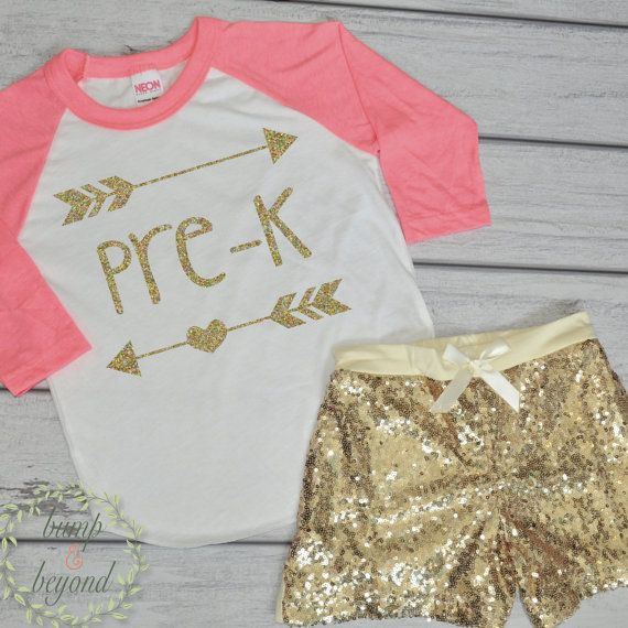 First Day of Preschool Shirt and Gold Sequin Sparkle Shorts. Perfect for your little one to wear on her first day of school. This outfit makes a great photo prop! We at Bump and Beyond Designs love to