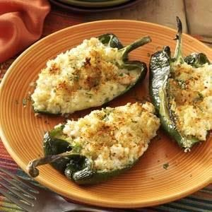 Shrimp-Stuffed Poblano Peppers Recipe -I created this dish for my mother when she moved back to our hometown. Since she really enjoys shrimp and slightly spicy food, I decided to create a shrimp-stuffed poblanos to surprise her. She was delighted.—Tina Garcia-Ortiz, Tampa, Florida