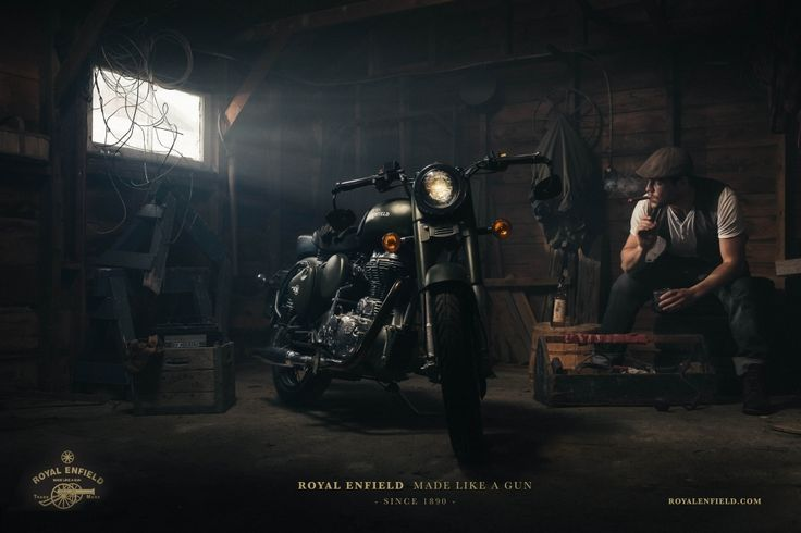 Royal Enfield motorcycle photoshoot. Seriously awesome image.