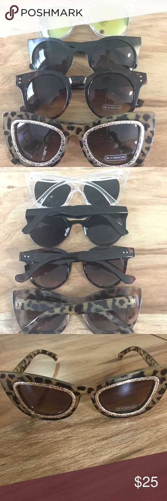 Trendy Cat Eye Frame Sunglass Bundle A bundle of four brand new sunglasses featuring trendy Clear frames, aviator and cat eye frames! Never worn. Accessories Sunglasses