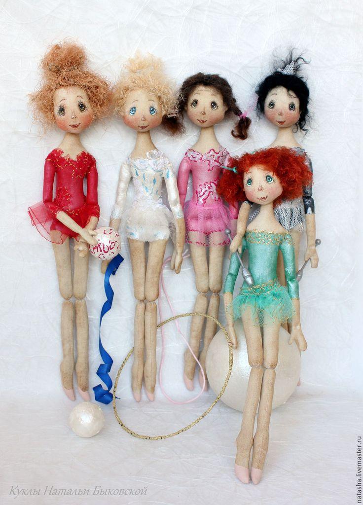 Купить Куколки ГИМНАСТКИ - комбинированный, кукла гимнастка, гимнастика, Гимнастка, художественная гимнастика, хлопок, лён