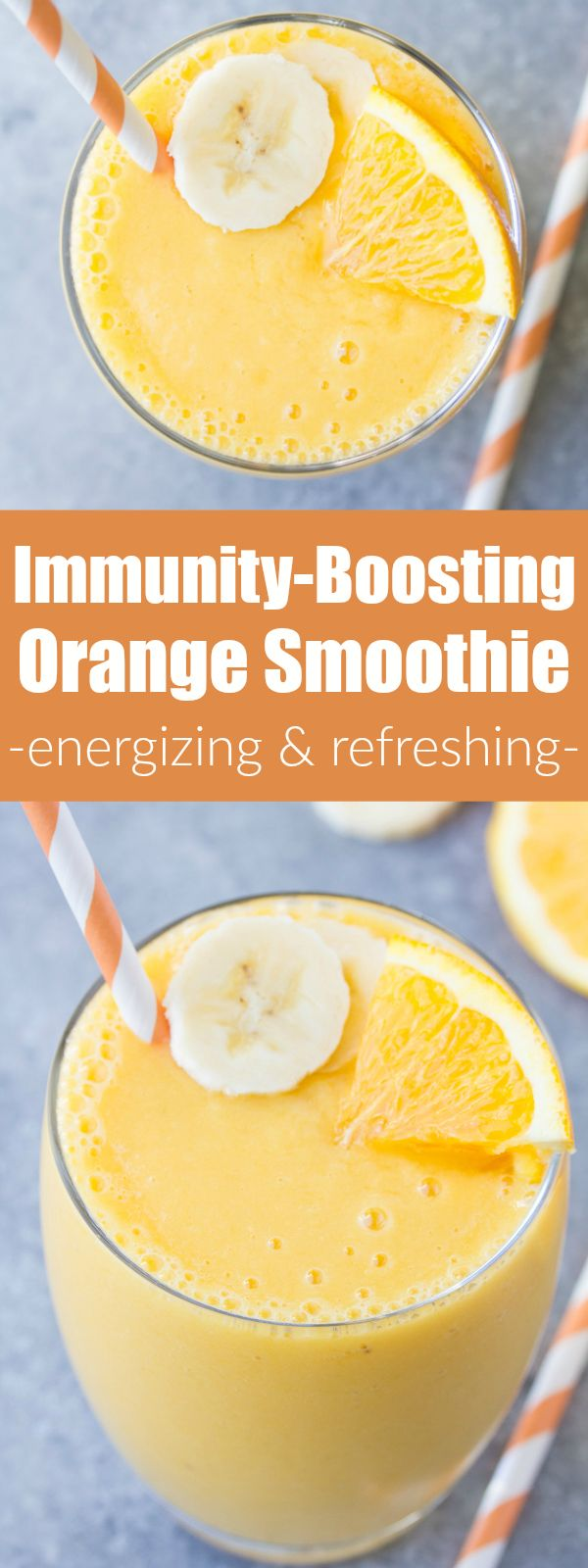 Immunity Boosting Orange Smoothie! This healthy smoothie packs a hefty dose of vitamin C! With orange, mango, banana and vanilla. | www.kristineskitchenblog.com