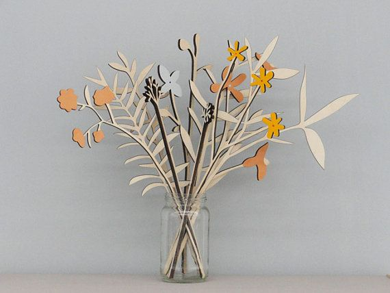 A beautiful set of 10 Meadow Flowers inspired by the English countryside.    Laser cut from birch plywood and delicately hand-finished in the pretty