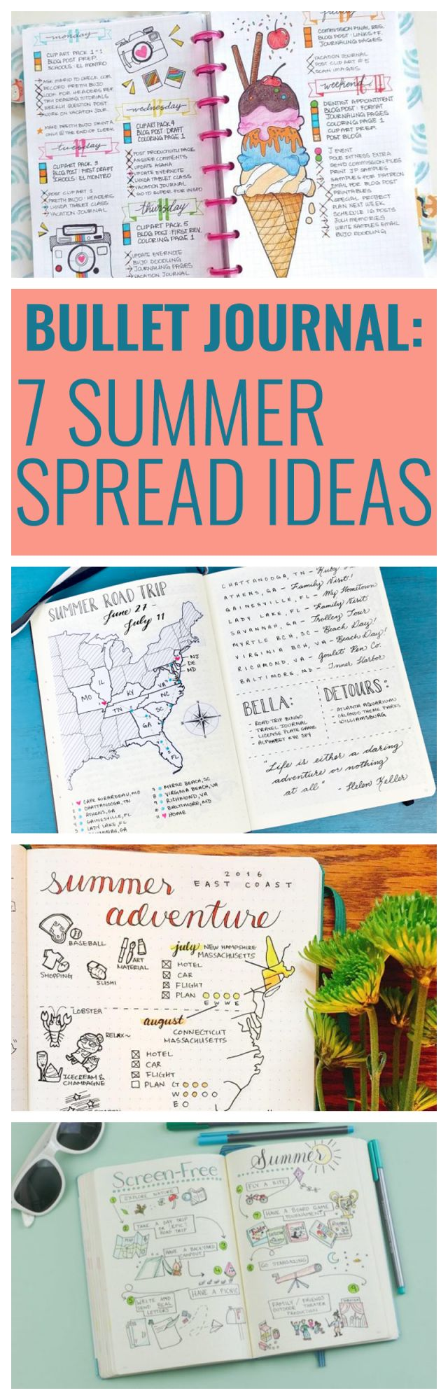 7 Summer Spread Ideas for Bullet Journals
