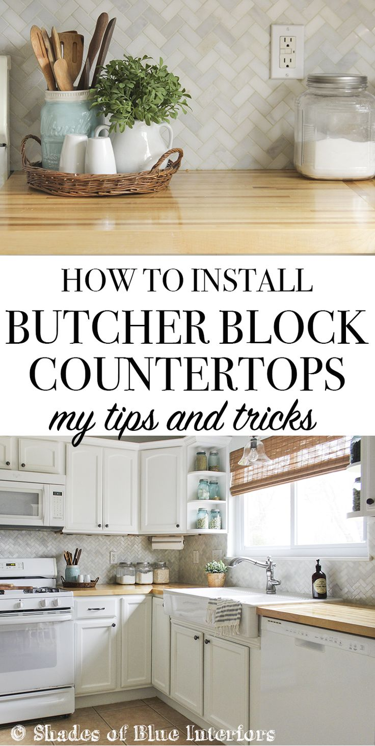 How to install butcher block countertops, including tips on making straight cuts, and using the right products to get a professional look.