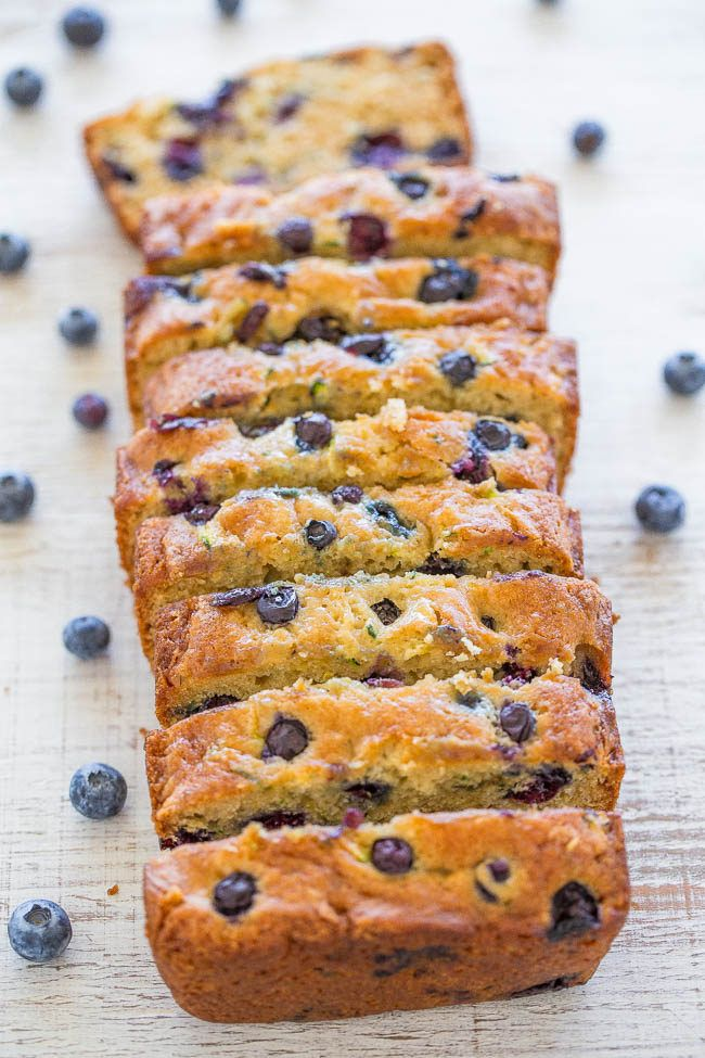 Blueberry Zucchini Bread - Juicy BLUEBERRIES in every bite of this soft, easy, no mixer bread!! If you have picky eaters who don't like zucchini, don't…