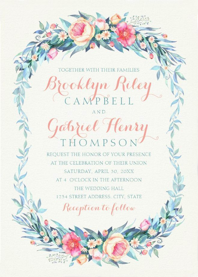 Elegant Floral Wedding Invitations – Watercolor Spring Wedding Cards. Classy chic wedding invitations. Feature unique  garden leaves and flowers, awesome typography and a beige background. You can easily change background color. Impress your guests with these cards. Perfect for formal and informal weddings. Just add your wedding details. Order your first sample today! #weddinginvitations