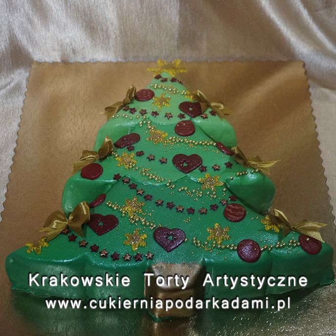219. Tort 2D w kształcie choinki. Christmas tree cake.