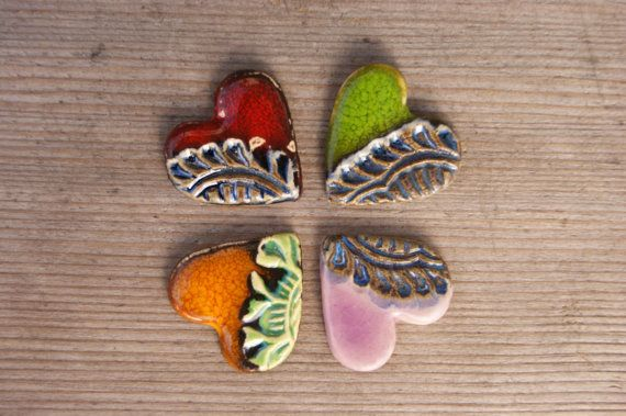 Little and stylish heart broochperfect gift by GlinianaKoniczynka