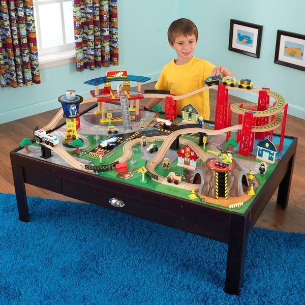 What a fun combination! Young conductors are sure to love our Airport Express Train Set & Table. The train set puts an entire city at your child's fingertip