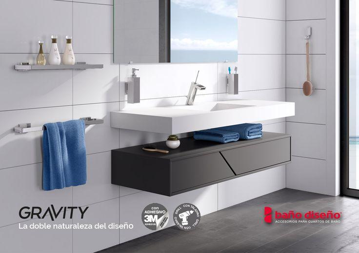 Zona ambiente de un #baño con la nueva colección de #accesorios Gravity, disponibles en nuestra tienda online Baño Diseño.