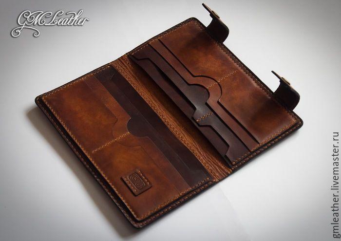 Купить Большой кожаный кошелёк, подарок мужчине или женщине - кошелек из кожи