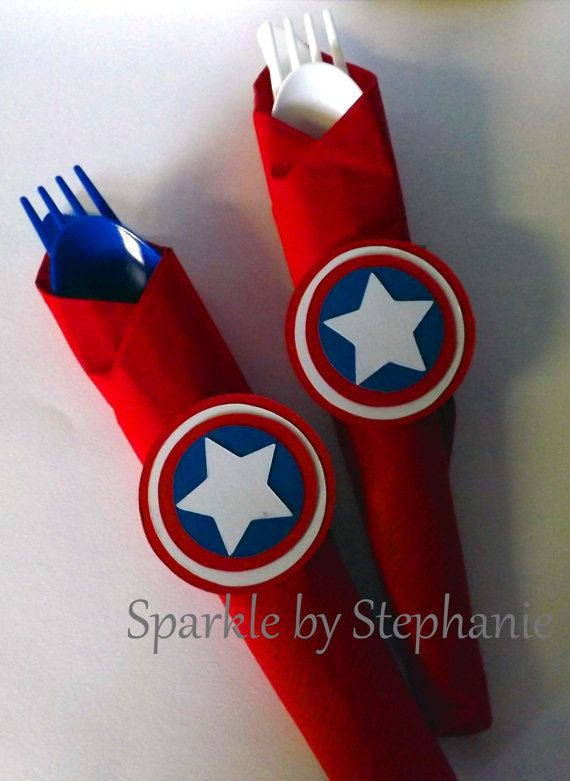 Hey, I found this really awesome Etsy listing at https://www.etsy.com/listing/204162164/captain-america-napkin-rings-set-of-12