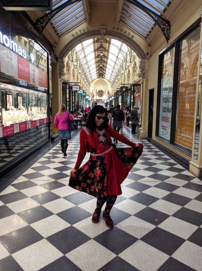 Costume designer Scarlett Menagerie at the Royal Arcade, Melbourne.