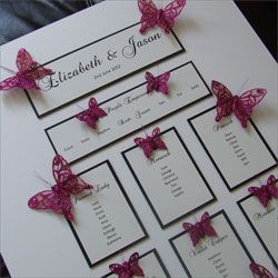 Wedding Table Plan with Glitter Butterflies   http://www.weddingparaphernalia.co.uk/butterfly-wedding-table-plan.htm from £60.00