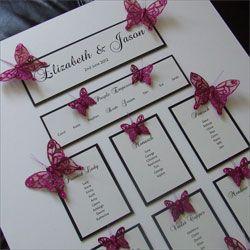 Wedding Table Plan with Glitter Butterflies   http://www.weddingparaphernalia.co.uk/butterfly-wedding-table-plan.htm from £60.00