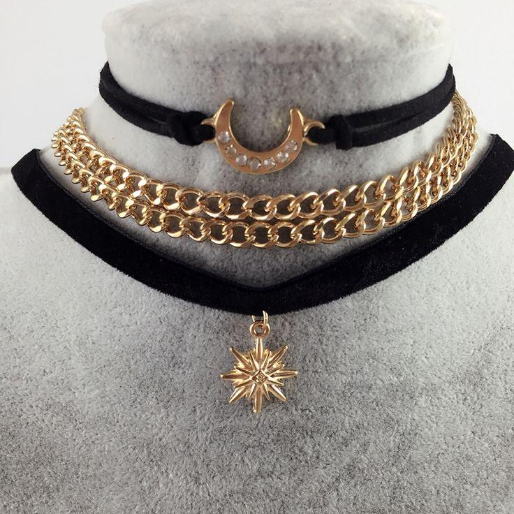 3 Pcs/Lot Gothic Jewelry Handmade Black Velvet Chocker Sailor Moon Pandent Tattoo Necklace For Women Fashion Collar