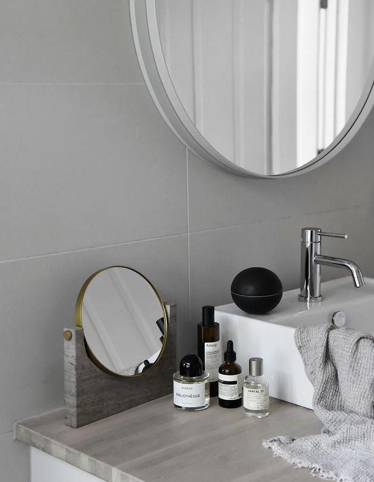 MENU | Pepe Marble Mirror in Elisabeth Heiers home in Stockholm https://simonjamesdesign.com/menu/