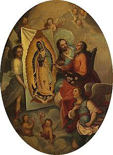 Juan Diego and the image left on his tilma   . . .   Our Lady of Guadalupe