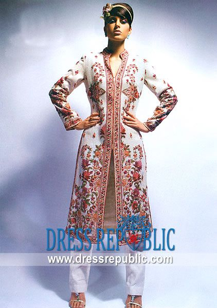 Off White Engle, Product code: DR2258, by www.dressrepublic.com - Keywords: Indian Clothing Stores Dayton Ohio, Indian Boutiques Dayton Saree Shops Dayton, OH