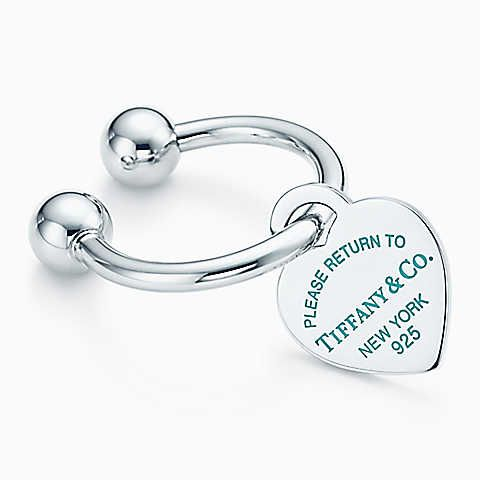 Return to Tiffany® heart tag key ring in sterling silver with enamel finish.