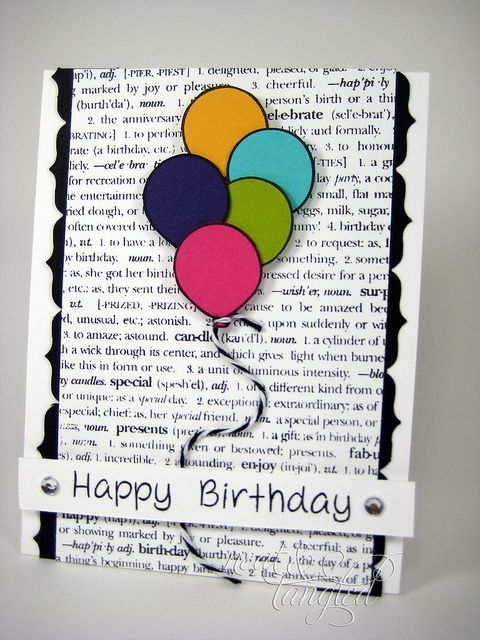 Happy birthday card: balloons on black & white text with black & white string.  (Jun'13)