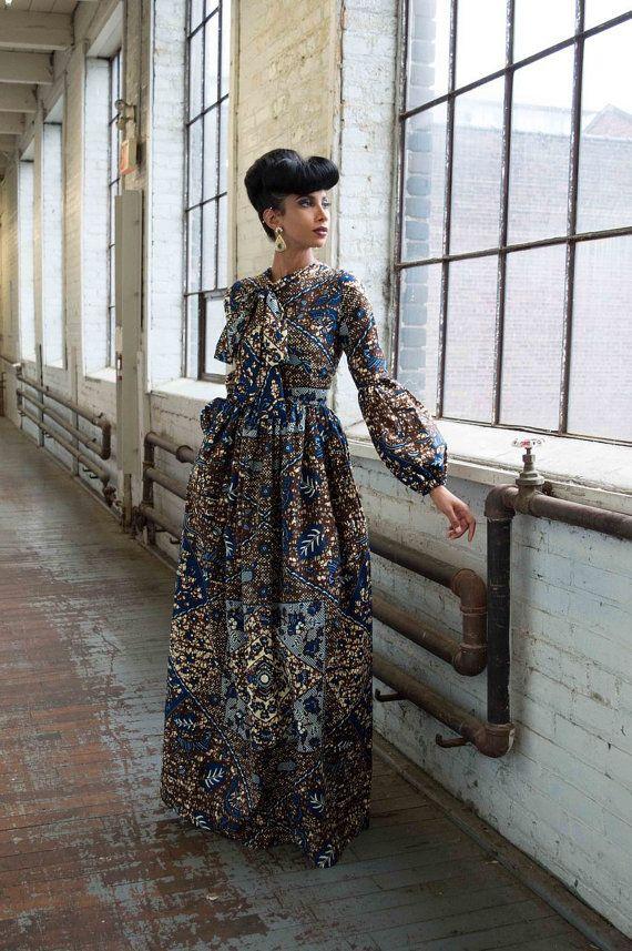 NEW Adamma Ankara African Print Maxi Dress