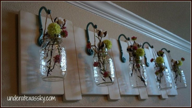 Make Mason Jar Vases for Your Bedroom Wall