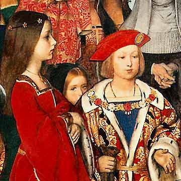 Erasmus of Rotterdam visiting the children of Henry VII at Eltham Palace in 1499 and presenting Prince Henry (the future Henry VIII) with a written tribute. Detail of oil painting in the East Corridor of the Palace of Westminster, London.