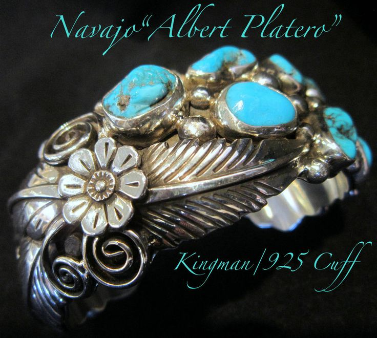 "On Hold! Navajo ""Albert J.Platero"" Kingman Turquoise/Leaf Cuff 925 Bracelet 