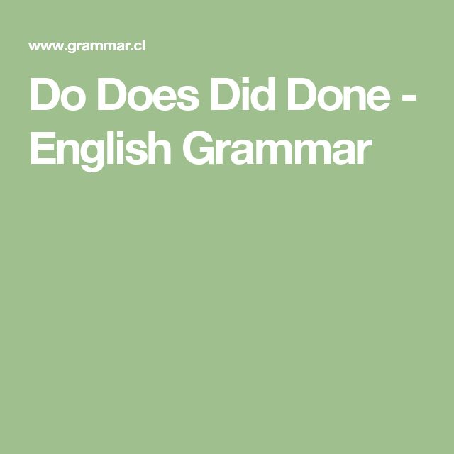 Do Does Did Done - English Grammar