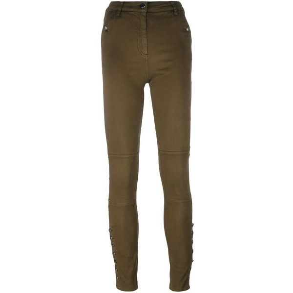 Belstaff 'Spinach' skinny trousers (2,715 EGP) ❤ liked on Polyvore featuring pants, capris, green, brown skinny pants, belstaff, brown trousers, green skinny pants and skinny trousers
