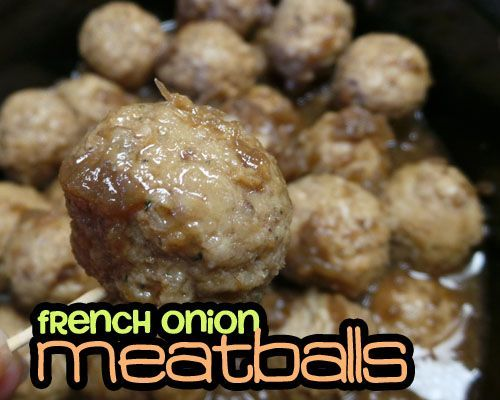 2-Ingredient Slow-Cooker French Onion Meatballs. Would also be goodw/extra sauteed onions and cheese (mozarella or provolone) added at theend just like when making French Onion Soup.