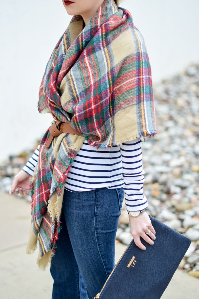Belted scarf + stripes