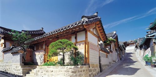 Bukchon Hanok Village. Some really lovely traditional Korean houses :) I want a house like one of these!