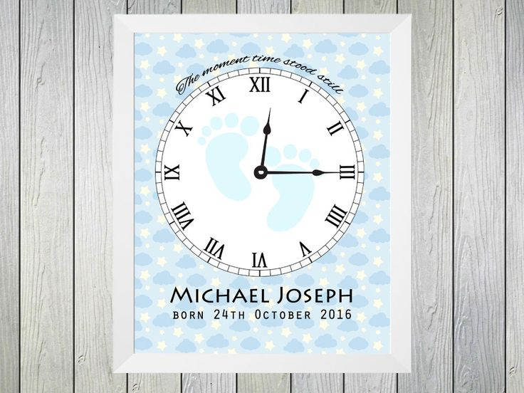 "The Moment Time Stood Still - Framed Personalised Print to commerate the time of birth of a baby boy. Personalised with name of baby, date of birth and time of birth. Time of birth is shown on a clock with the text ""The moment time stood still"""