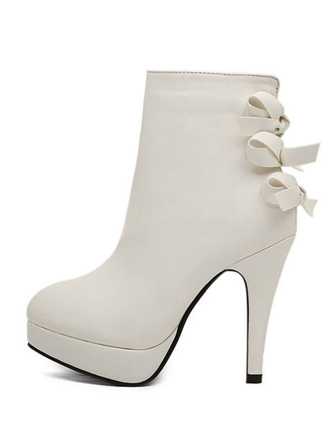white boots for women   Great White Round Toe Bow PU Leather Heeled Ankle Boots For Women ...