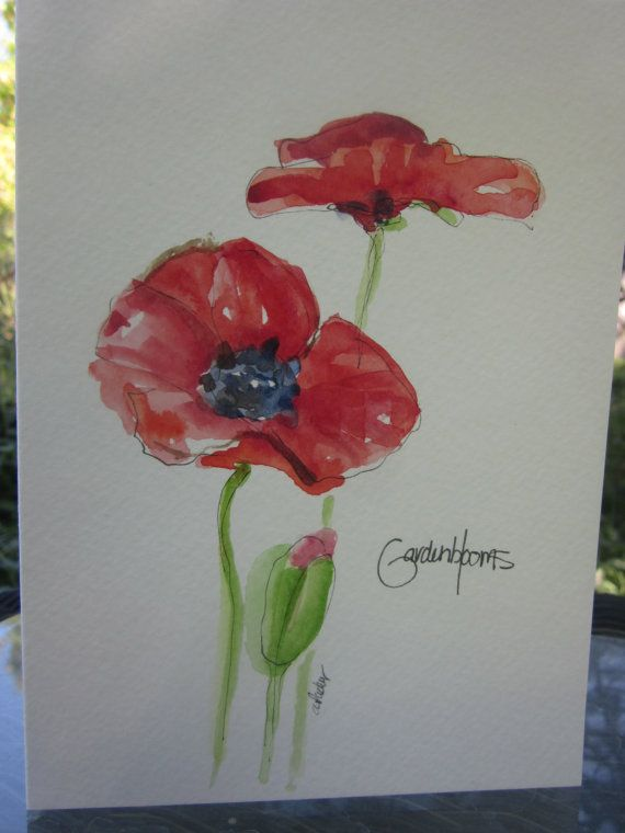 Red Poppies Watercolor Card by gardenblooms on Etsy, $3.50