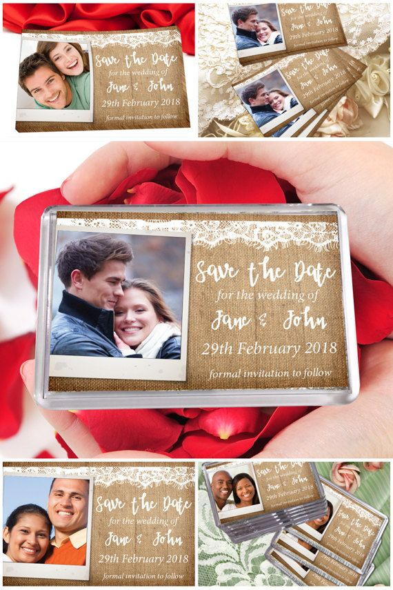 Personalised Rustic Save The Date Fridge Magnets With Photo  #savethedate #weddiinginvites #fridgemagnets #prandski