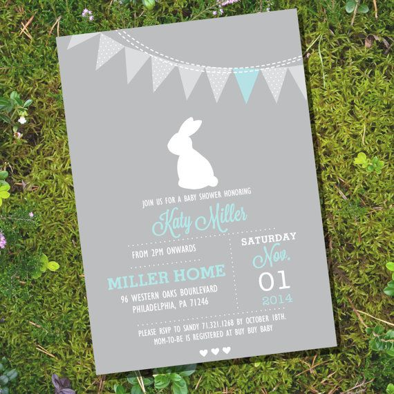 bunny baby shower invitation for a boy or girl gray bunny baby
