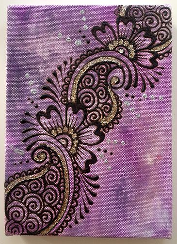 Henna paste and acrylic paint on stretched canvas.