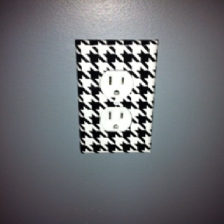 Another pinned said: Wrapping paper used to cover light switches for husbands Alabama room