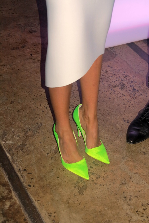 All in the details! Nominee Lindy Klim's neon Christian Dior pumps light up the cocktail party.