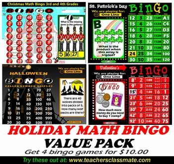 holiday math bingo value pack - Online Halloween Math Games