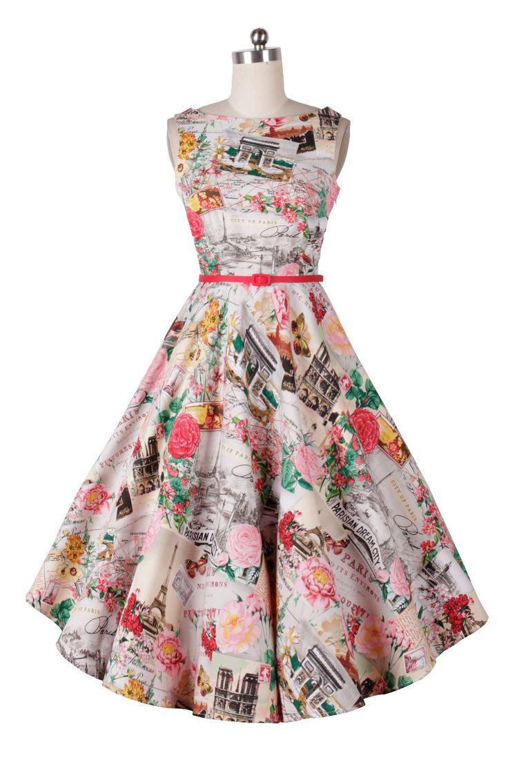 夏のファッション201560年代のヴィンテージレトロな50年代のドレスアップピンロカビリーオードリーヘップバーンスイングスタイルノースリーブのプリントドレス(China (Mainland))