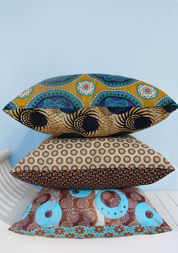 Mixed set of three Shweshwe & Java print scatter cushions 50x50cm: Illuminate your home with these eyecatching mixed print African cushions