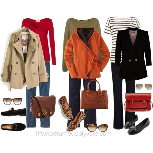 Casual, yet polished layered outfits: Fifty, not Frumpy (diff. red bag and have red shades)